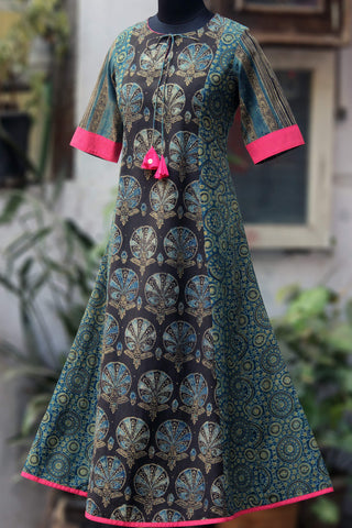 a-line anarkali - indigo halo & the oriental breeze