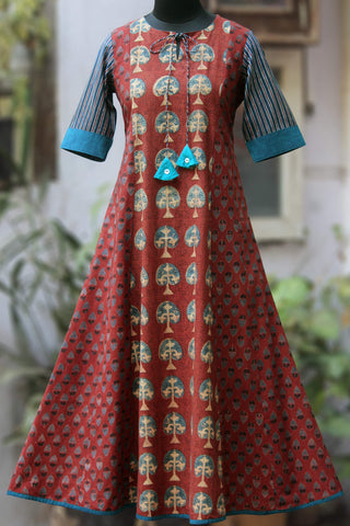 a-line anarkali - berry red & the bodhi tree