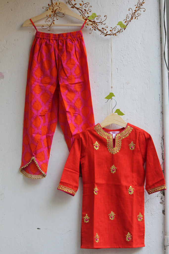 kidswear - orange gota kurti with pink orange tulip pants