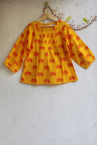 kidswear - yellow pintuck top