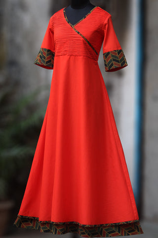 double layered cotton anarkali - fiery orange & ajrakh