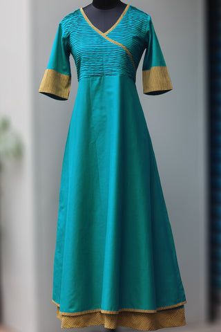 double layered cotton anarkali - teal & mulmul