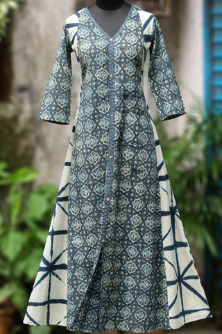 a-line dress - entwine in indigo flora
