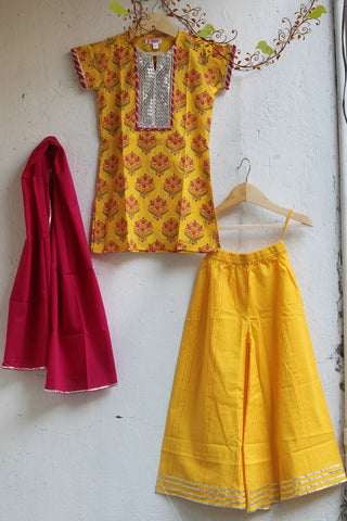 kidswear - yellow gota kurti with yellow palazzo & dupatta