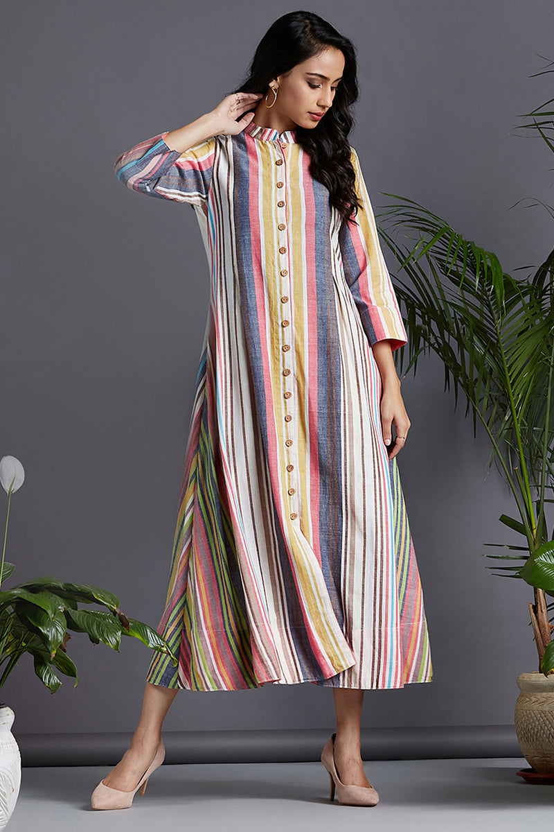 button down dress - ethereal rose & play of stripes
