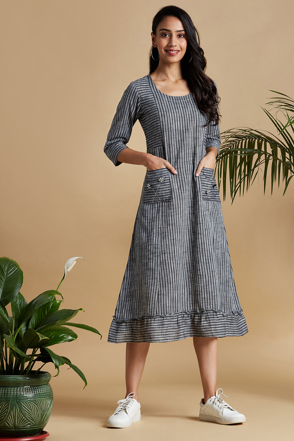 pocket dress with ruffle border - slate grey & stripes
