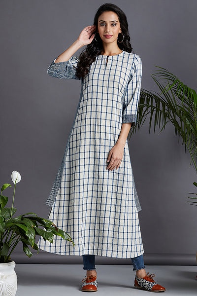 kurta with a side twist - fresh canvas & indigo checks