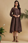 box pleated swing dress - mocha brown & gold stripes