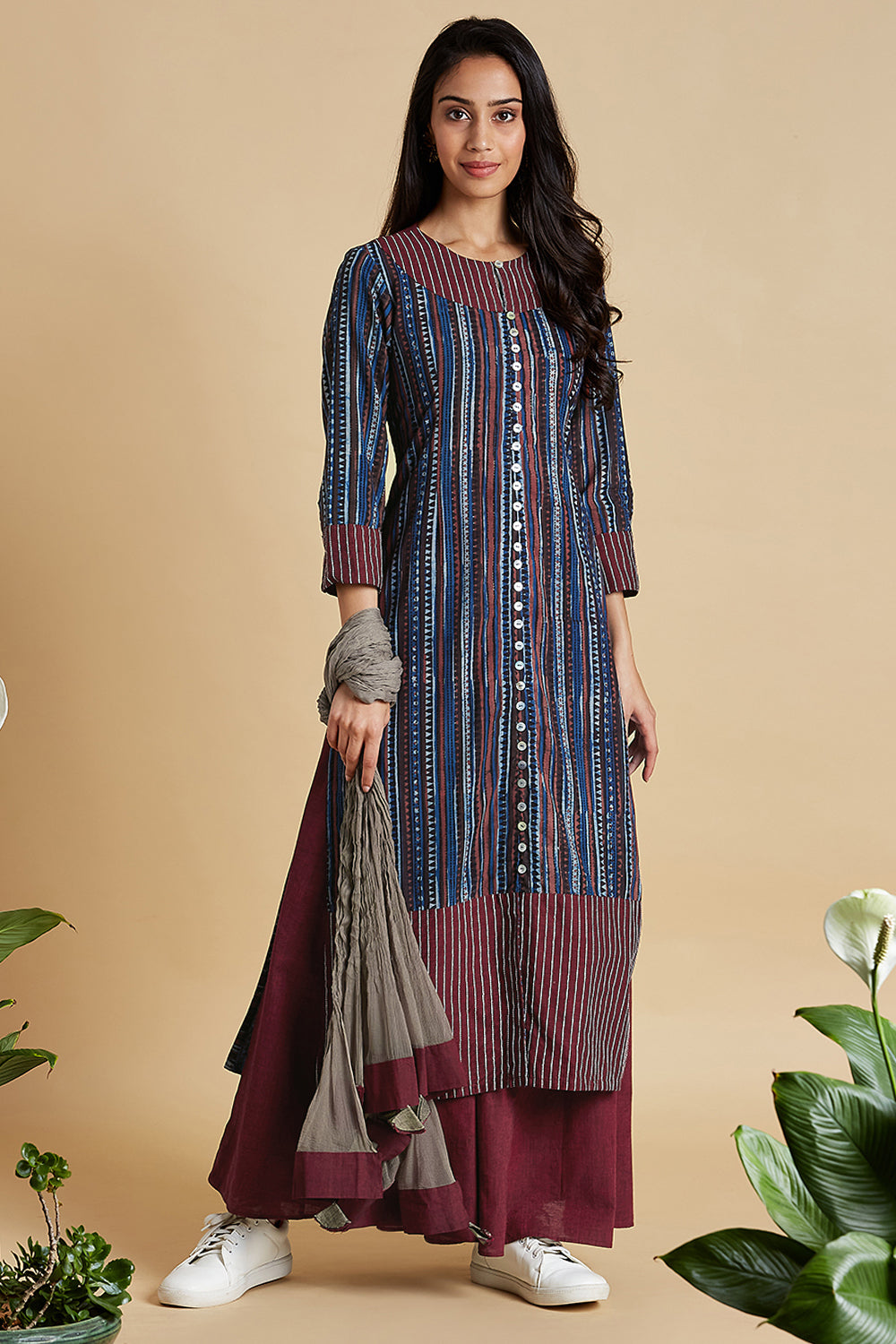 long kurta with front slit - endless blues & petal bloom
