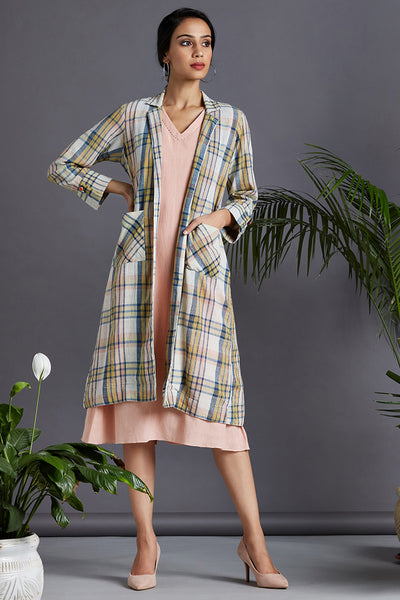 ensemble - blazer dress - delicate peach & sunset snow