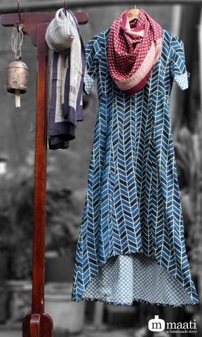 asymmetrical dress - criss cross & indigo