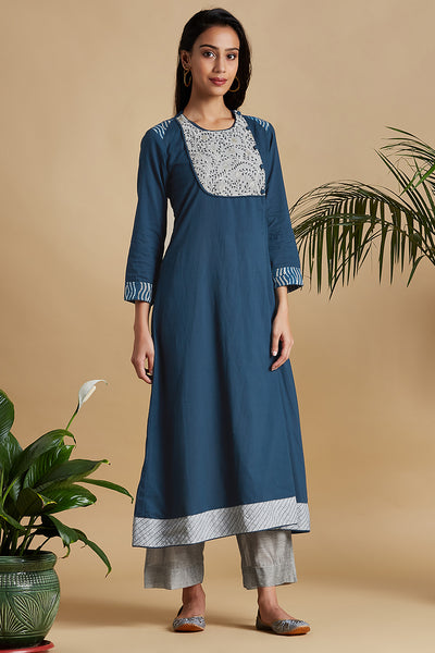 mughal anghrakha with yoke - midnight blue & silver clouds
