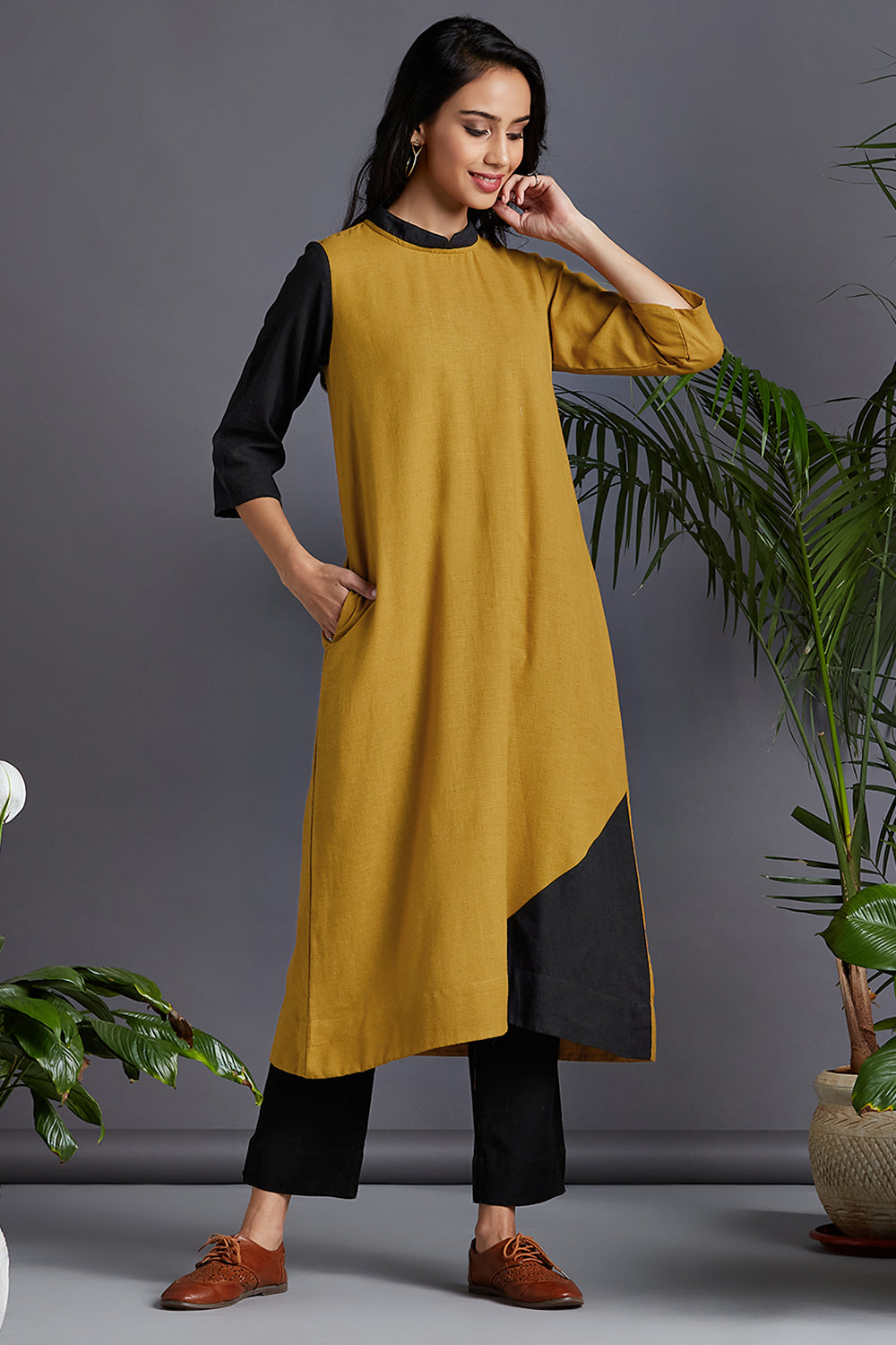 long kurta  - yellow ochre & radiance