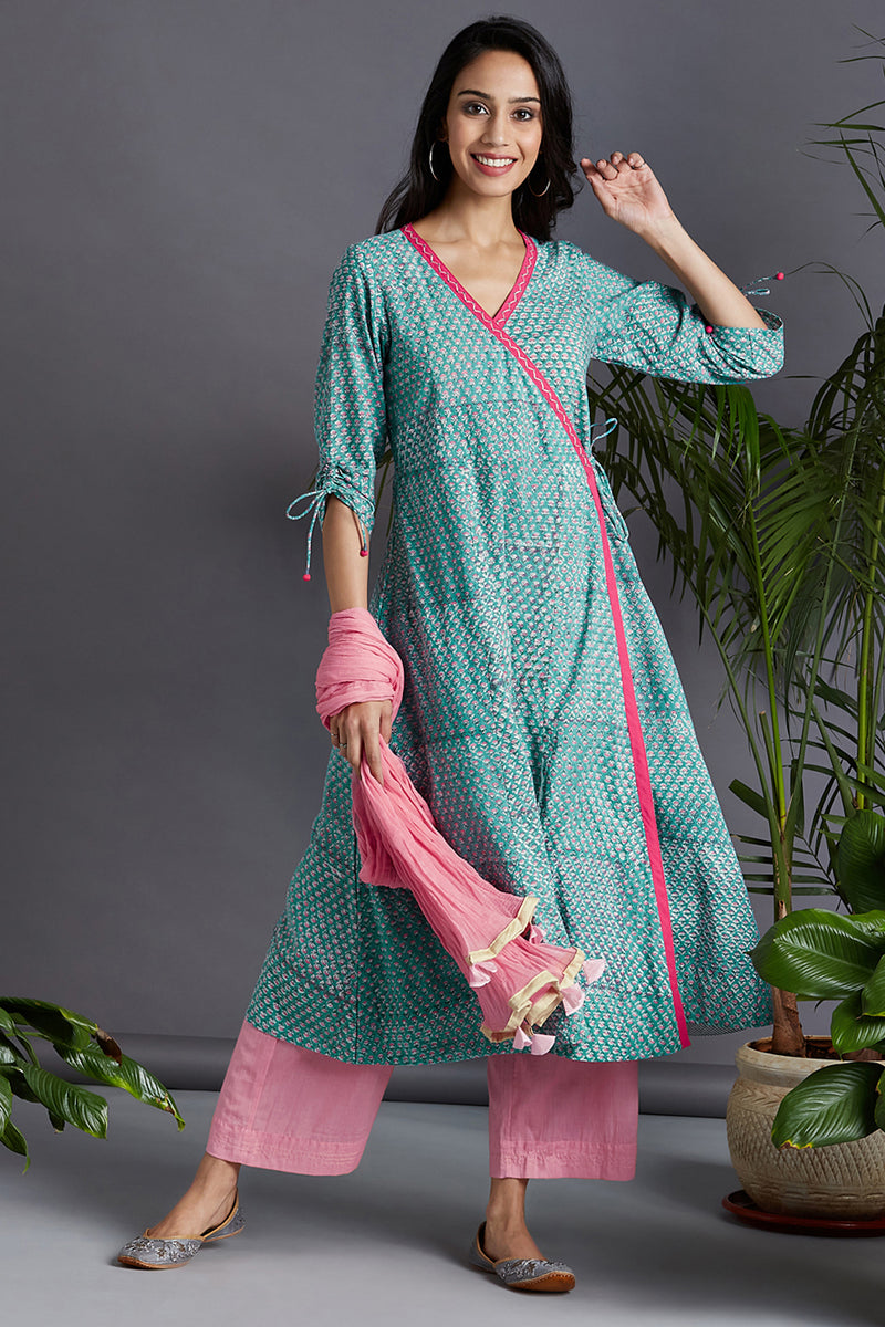 angrakha kurta & trousers - aquamarine & mini rosa