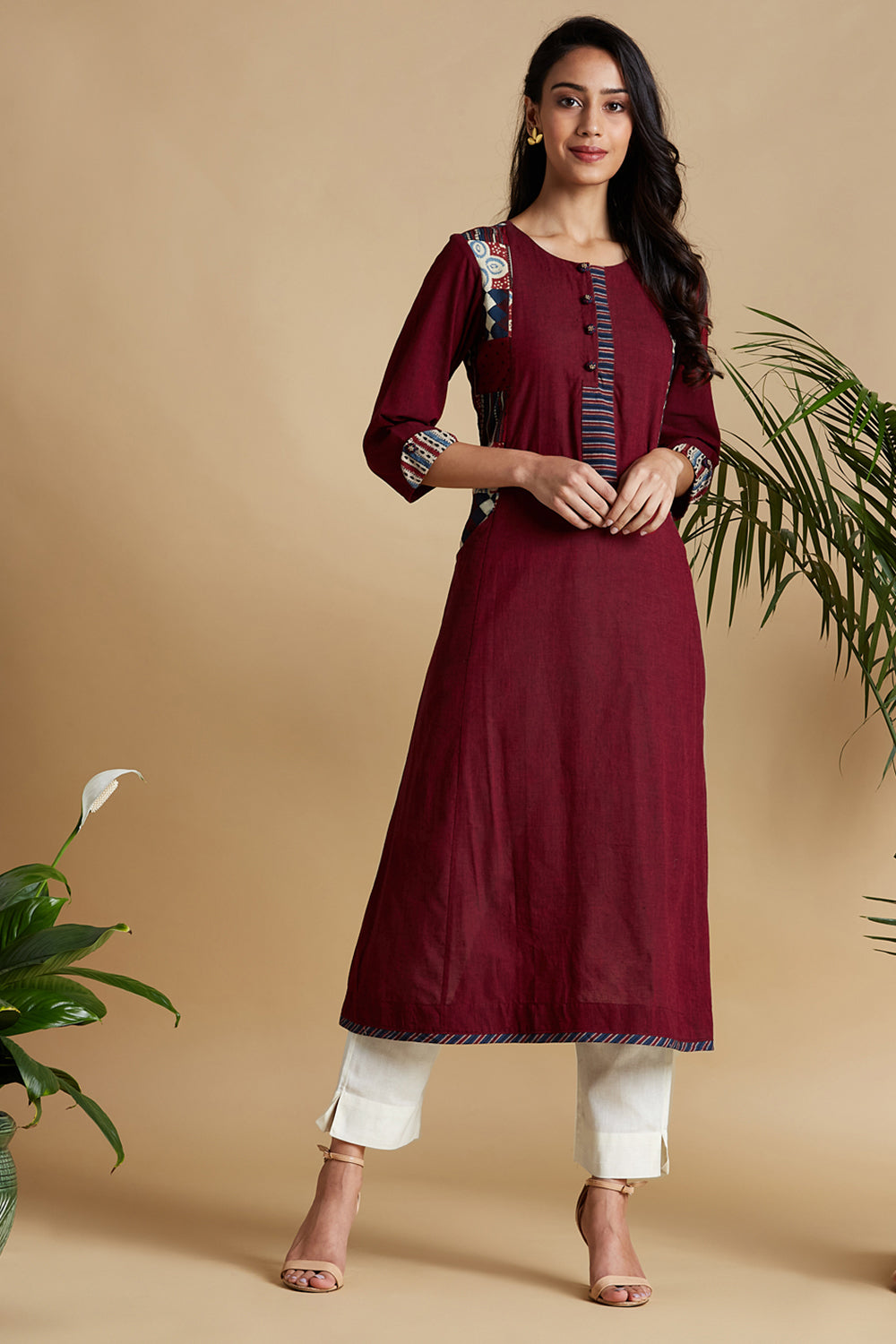 the ladle placket a-line - divine burgundy & clouds