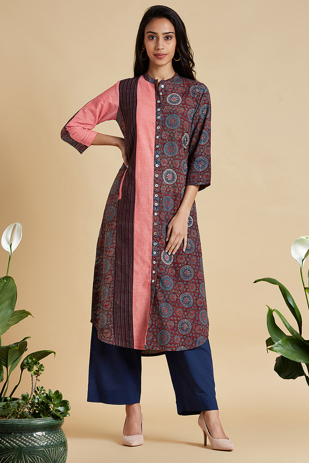 button down kurta - coral haze & riyal