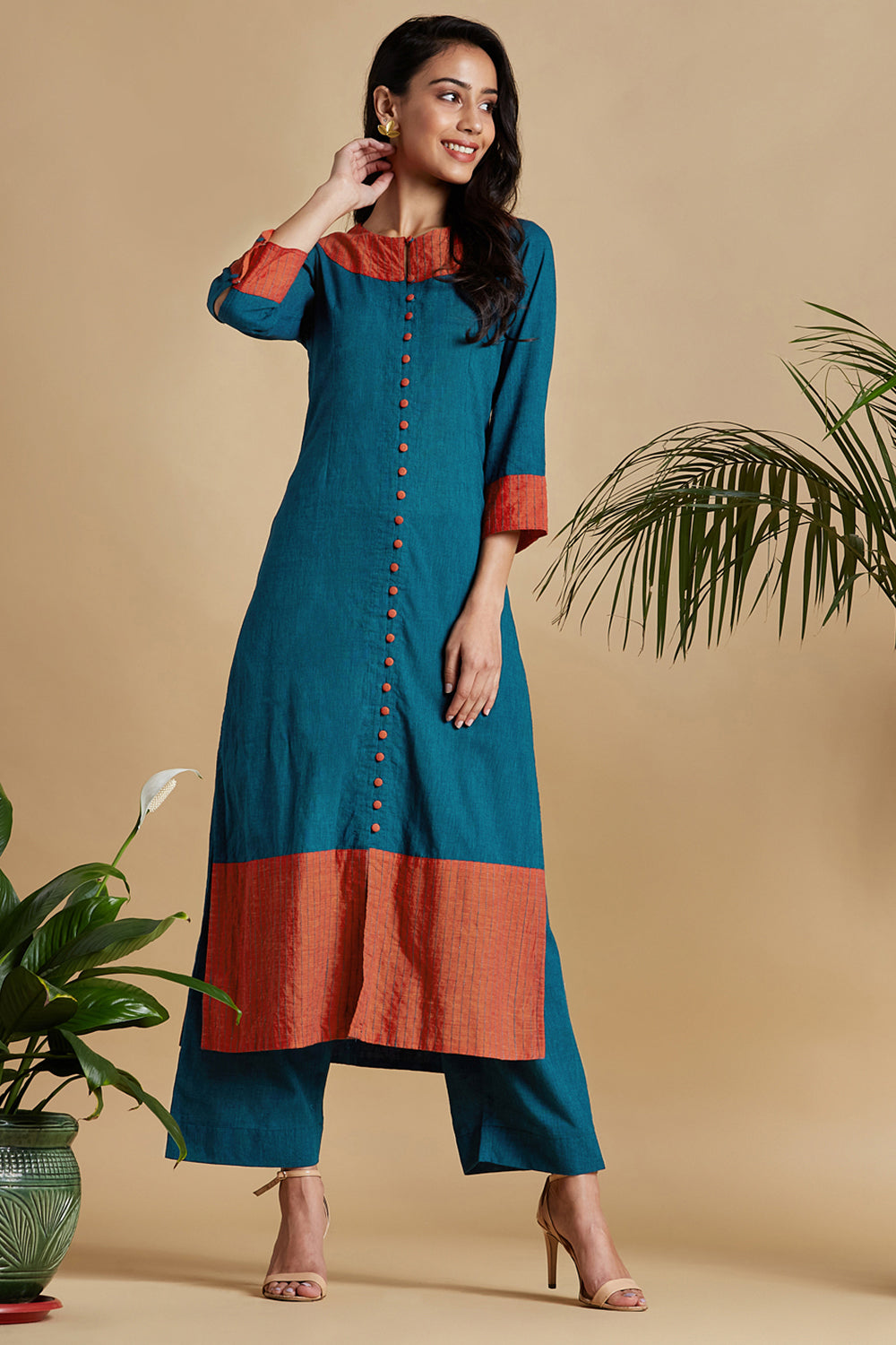 long kurta with front slit - teal & tangerine sky