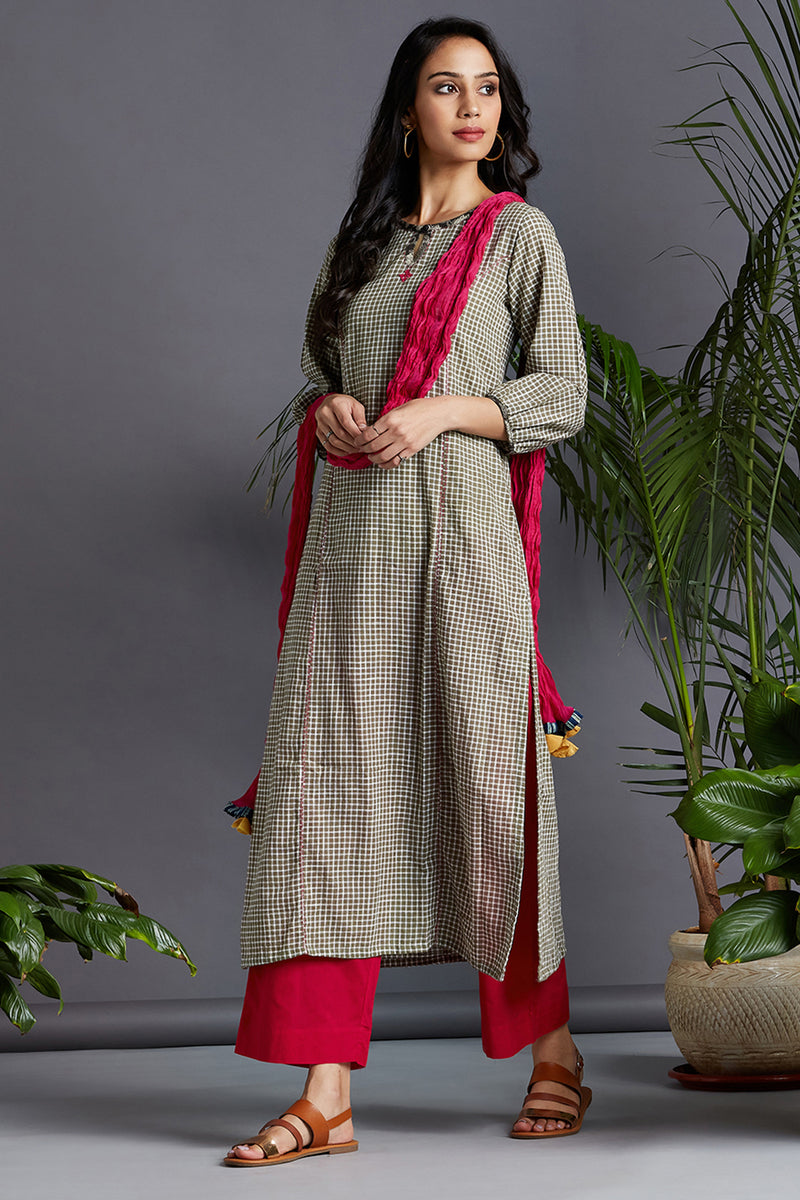 long kurta - olive checks & pink drops