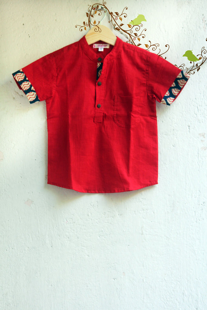 kidswear - red slub boys shirt