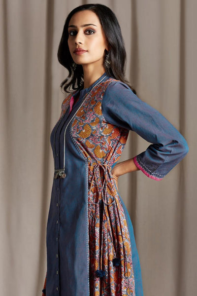 Long button down dress in blue mangalgiri front panel and orange with blue hand block print side panel  and side tie ups