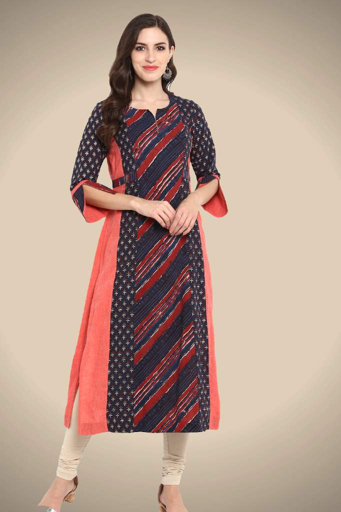 peach indigo 3 panel  long kurta handblock printed natural dyed