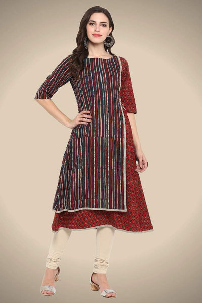 RED INDIGO AJRAKH FRONT PANEL TIE-UP A-LINE DRESS