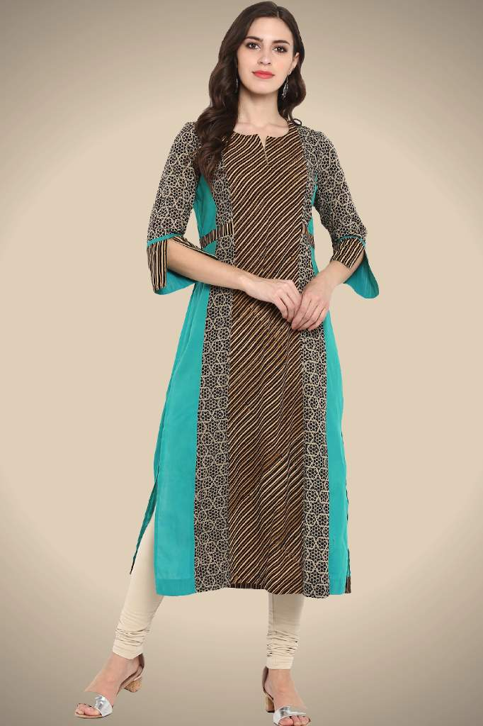 sea green black ajrakh 3 panel  long kurta handblock printed natural dyed