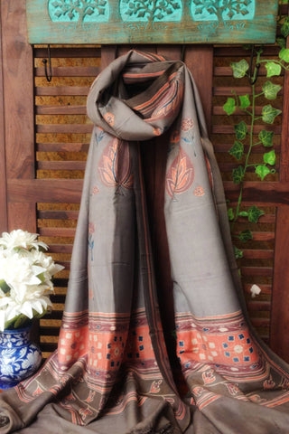 ABSTRACT AJRAKH DUPATTA -  VINTAGE PINK & GREY