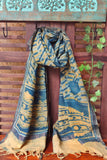 ABSTRACT AJRAKH STOLE -  INDIGO & GOLD WAVES
