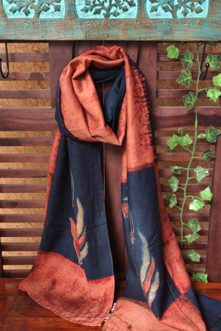 ABSTRACT AJRAKH STOLE - INDIGO COPPER & LOTUS