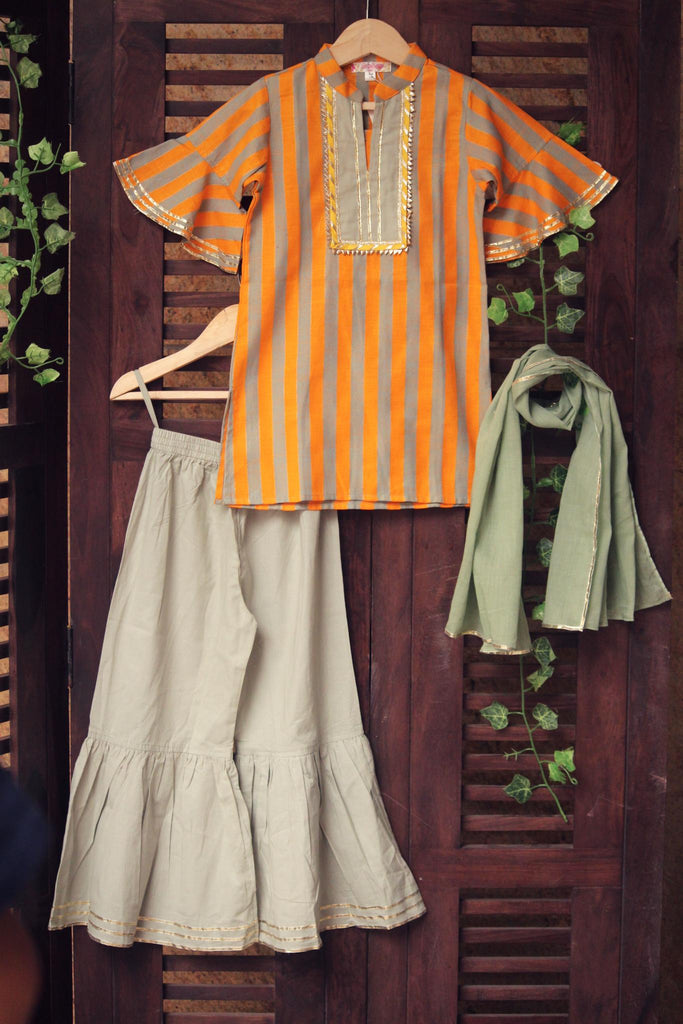 kidswear - orange stripes kurta with pista green gharara & dupatta