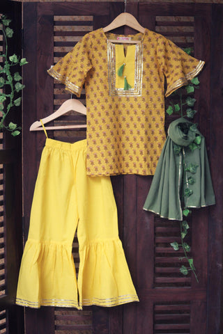 kidswear - lemon yellow kurta with gharara & green dupatta