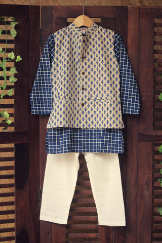 kidswear -  grey butti jacket with indigo checks kurta & pajama