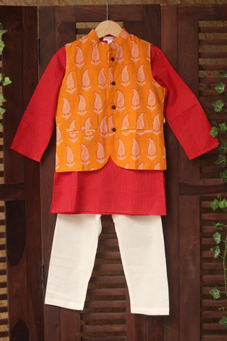 kidswear -  yellow paisley jacket with red kurta & pajama