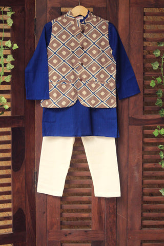 kidswear -  grey shell jacket with blue kurta & pajama