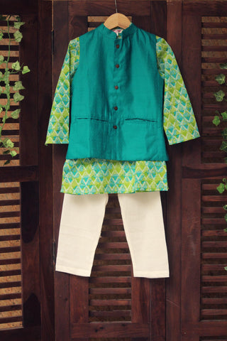 kidswear - green jacket with light green kurta & pajama