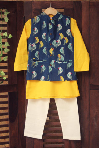 kidswear -  blue parrot jacket with yellow kurta & pajama
