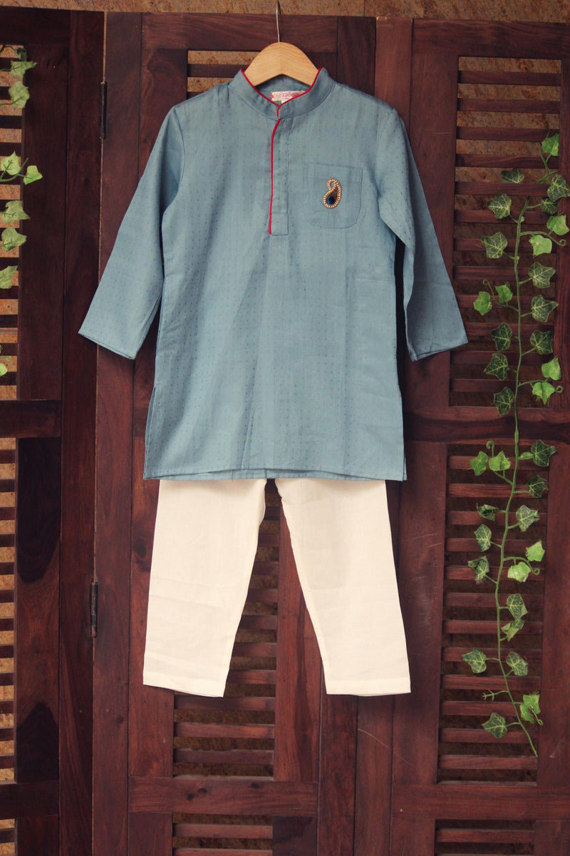 kidswear - blue grey kurta with pajama
