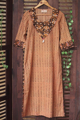 long kurta - beige & fish
