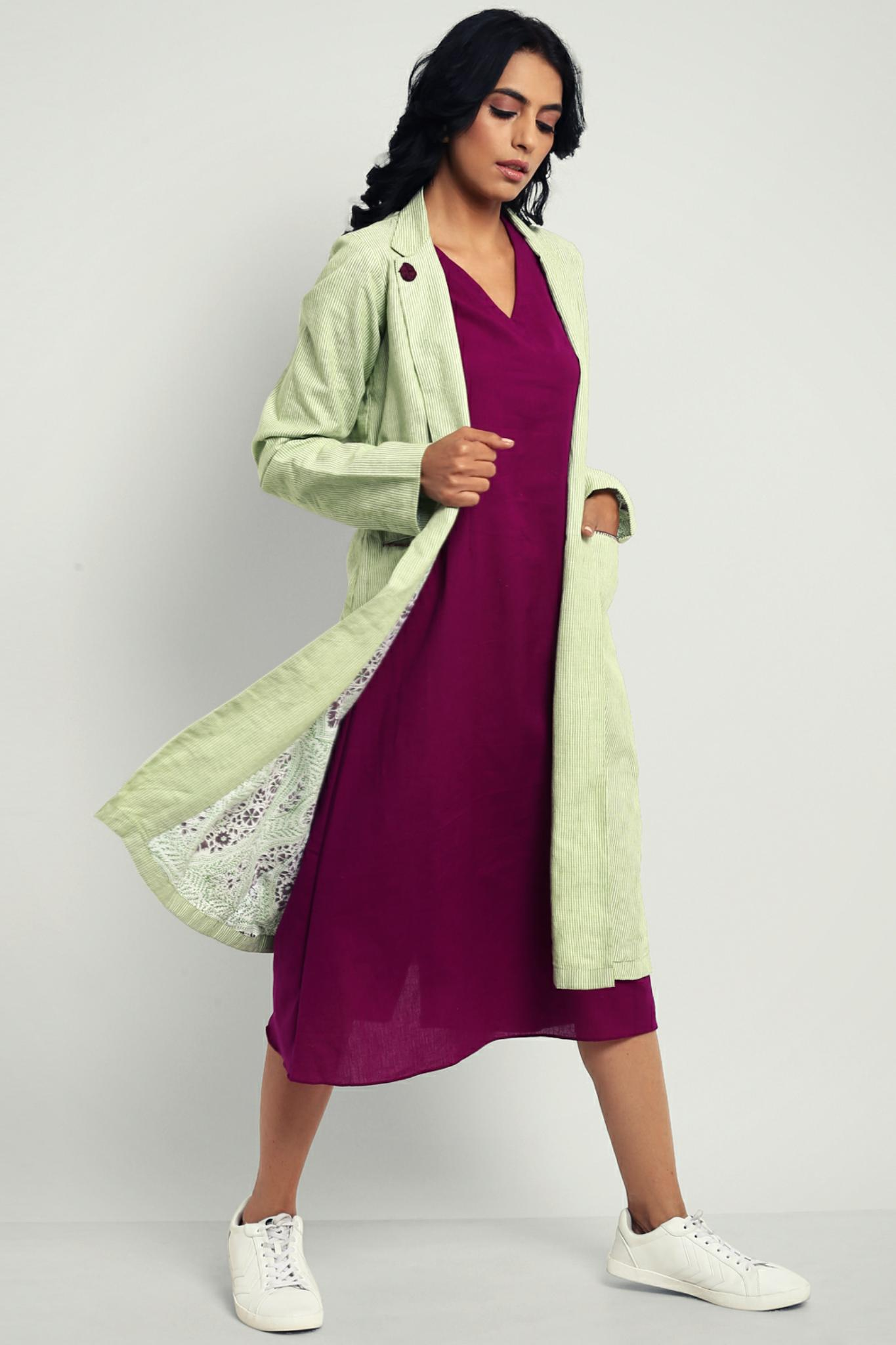 blazer dress - spring green & mauve
