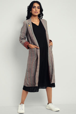 blazer dress - kashish stripes & kohl black