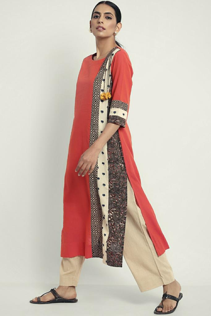 patchwork long kurta - peach & monochrome