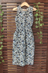 kidswear - blue white floral long jumpsuit