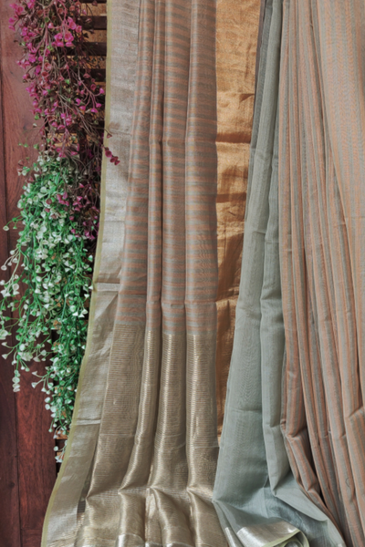handwoven chanderi saree - copper sheer & silver stripes