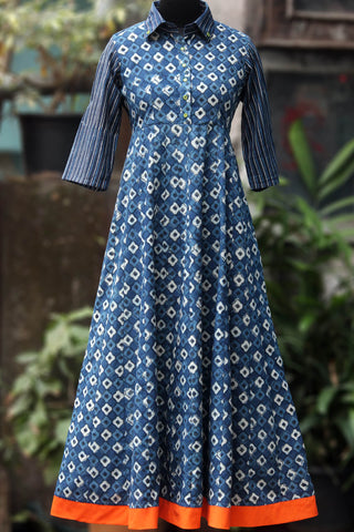 collar anarkali - blue mosaic & spring brook