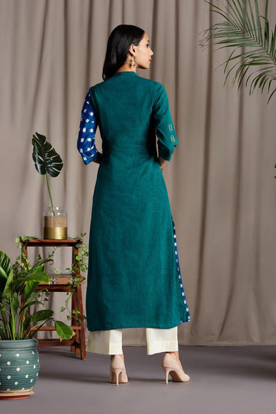 Long Kurta in Green Mangalgiri  with Teal Blue Handloom Ikat with white squares and Yellow Square geometric embroidery on Kurta and Sleeve