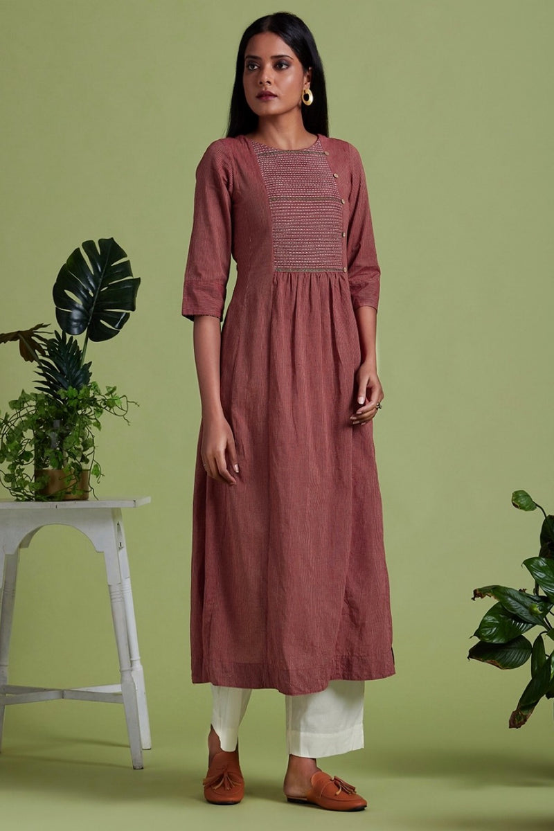 hand embroidered pintuck yoke kurta - mystery & maroon