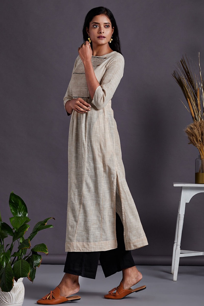 Cream Slub Long Kurta with delicate Hand embroidery Yoke