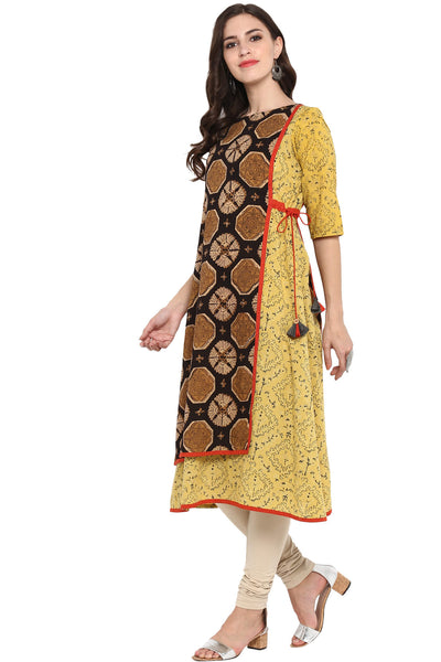 FRONT PANEL TIE-UP A-LINE DRESS - YEH KAALI KAALI AANKHEIN