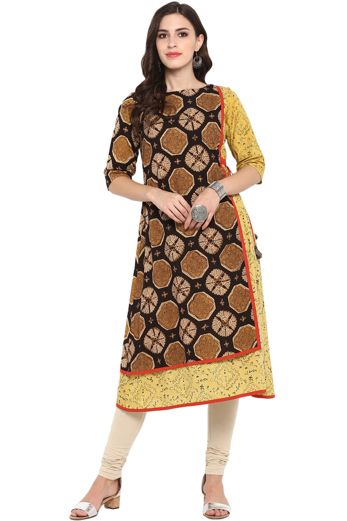 YELLOW BLACK AJRAKH FRONT PANEL TIE-UP A-LINE DRESS
